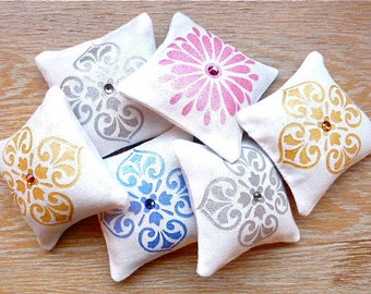 Hand Painted Lavender Sachets White Linen Drawer Sachets