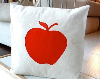Big Apple Pillow Case - Red Apple Hand Painted on Natural Cotton Canvas Pillow Cover - 18x18 Pillow Cover