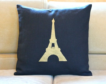 Black and Gold Eiffel Tower Pillow Case -  Hand Painted Gold Eiffel Tower Pillow Cover - 16x16 Paris Decorative Pillow