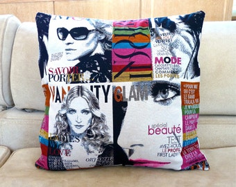 Modern Madonna Pillow Cover 16 x 16 inch - Fashion Magazine Pillow Case - Decorative Vogue Pillow