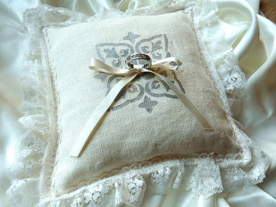 Ivory French Linen Ring Pillow with Hand Painted Design