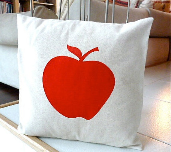 Big Apple Pillow Case - Red Apple Hand Painted on Natural Cotton Canvas Pillow Cover - 16x16 Pillow Cover