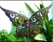 """Metal Plant Stake, Butterfly Garden Plant Stick 12"""" x 14""""- Handcrafted - Recycled Steel Drum Art from Haiti Garden Decor - PS-1786"""