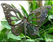 """Metal Plant Stake - Metal Garden Decor -  Butterfly Garden Plant Stick 10"""" x 13"""" - Metal Butterflies - Steel Drum Art from Haiti - PS-1785"""