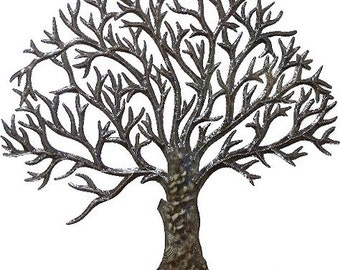 "Metal Wall Art -Tree Metal Art Wall Hanging, Tree Wall Decor, Haitian Recycled Steel Drum Art, Haitian Art -24"" - 5014-24"