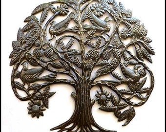 "Metal Wall Decor - Birds in Tree Metal Wall Hanging - Metal Art - Haitian Steel Drum Art - Metal Garden Art - Tree of Life  31"" - 1635"