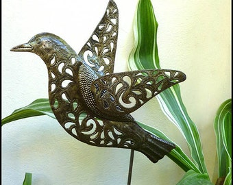 "Metal Plant Stake - Bird Garden Plant Stick 11"" x 12""- Metal Garden Art from Haiti - Garden Decor - Metal Art - Haitian Metal Art - PS-1792"