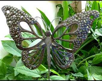 Metal Plant Stake, Garden Decor, Outdoor Metal Art, Garden Plant Stick, Garden Art, - Metal Butterflies, Steel Drum Art from Haiti - PS-1785