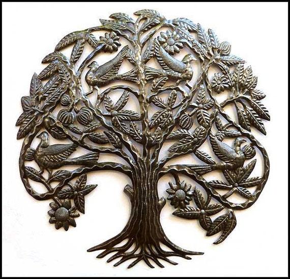 "Metal Wall Decor - Birds in Tree Metal Wall Hanging - Haitian Recycyled Steel Drum Art - Metal Garden Art - Tree of Life  31"" - 1635"