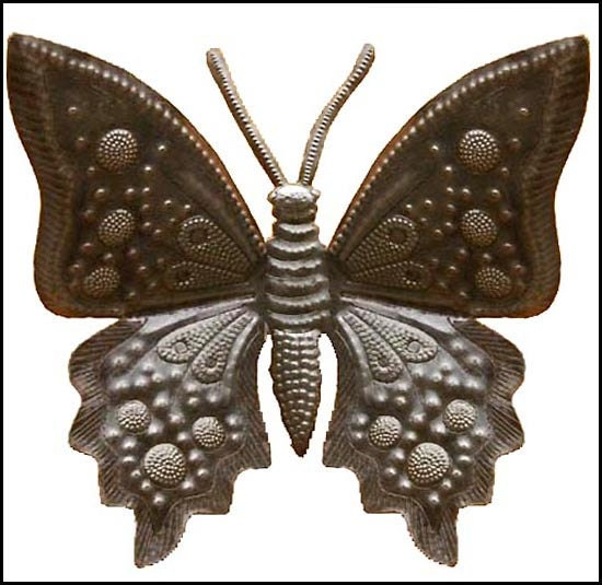 metal wall hanging 24 butterfly art haitian art. Black Bedroom Furniture Sets. Home Design Ideas