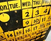 Perpetual Calendar for your Wall in Yellow and Black Wood