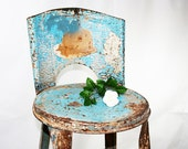 Chippy Turquoise Blue Metal Stool 1920