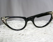 Black Cat Eye Glasses with Silver Detail......J