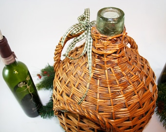 French Demijohn Glass Bottle in a Basket for Wine - Large