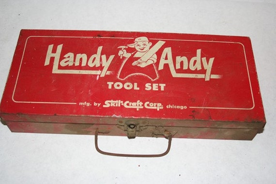 Child's Red Carpenters Tool Box Handy Andy Tool Set