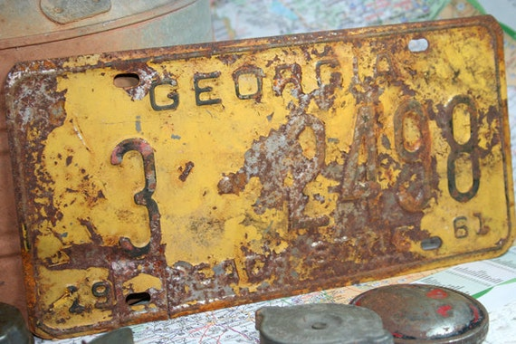 1961 Georgia LIcense Plate Yellow