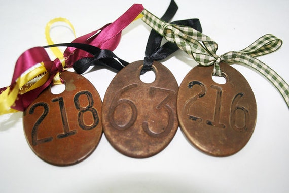 Brass Number Tag Double Sided TWO LEFT: 369, 216
