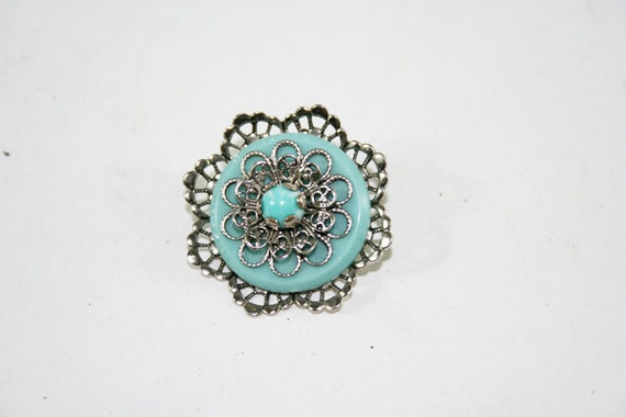 Classic Silver and Turquoise Pin Brooch