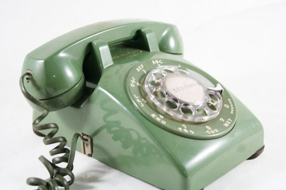 Avocado Green Rotary Telephone