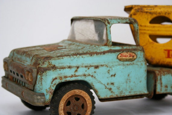 Old Blue Tonka Truck with Yellow Car Carrier