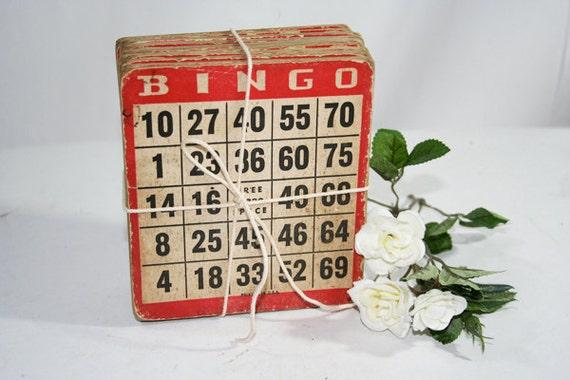 20 Red Bingo Cards on cardboard