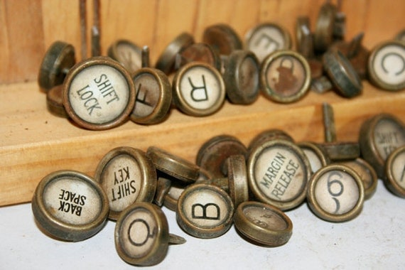 47 Royal Typewriter Keys White with black letters