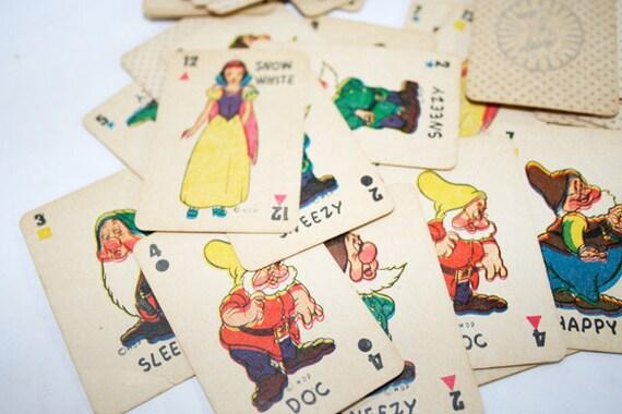 10 Mini Vintage Snow White and The Seven Dwarfs Cards Ephemera Mixed Media