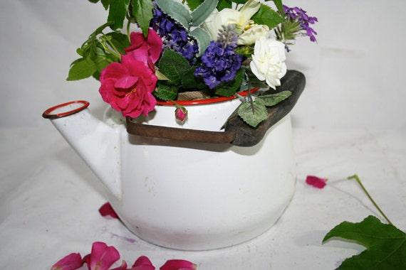 White Enamelware Tea Kettle Vase Planter