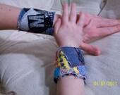 upcycled Fiona Warrior Princess patchwork wrist cuff
