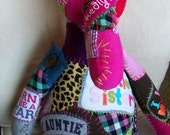 custom graffiti ICKEBADIKA patchwork buddy doll for anyone who has love to share by Claudia Fill