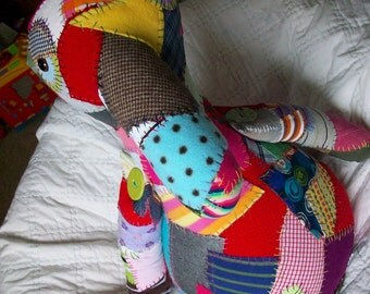 Custom Memory Keeper Big ICKEBADIKA upcycled patchwork buddy doll for anyone who has love to share by Claudia Fill