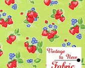 Fabric Pam Kitty Strawberries Lime Lake House Dry Goods Holly Holerman Design
