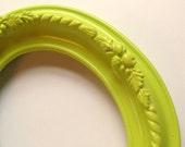 CLEARANCE - Vintage Lime Green Oval Plaster Frame