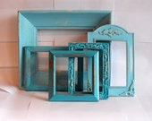 Nantucket Frame Collection, 5 pcs, aqua and turquoise blue