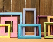 CLEARANCE- Paulina Frame Collection- upcycled shabby chic - 8 frames painted in muted rainbow colors