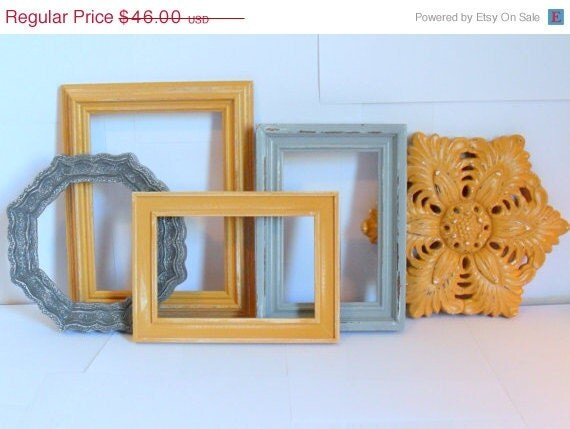 ON SALE - 15% off - West End Wall Collection -  frames and a plaque - goldenrod and 2 shades of gray