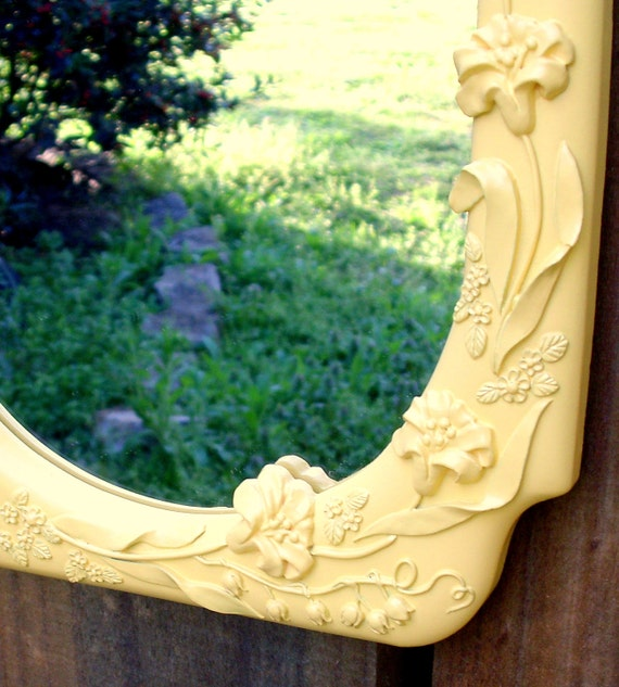 Spring Yellow Mirror - painted upcycled shabby cottage chic - floral detail - garden terrace party - framed mirror