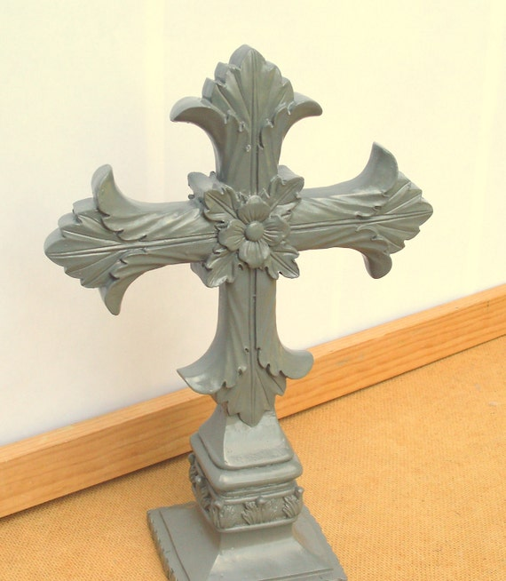 Granite Grey Standing Cross - upcycled painted shabby cottage chic - standing crucifix figurine - slate gray - baroque detail