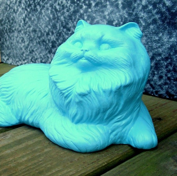 Alfred the Aqua Blue Cat - upcycled shabby cottage chic - painted plaster feline friend - meow kitten stray - rustic carving