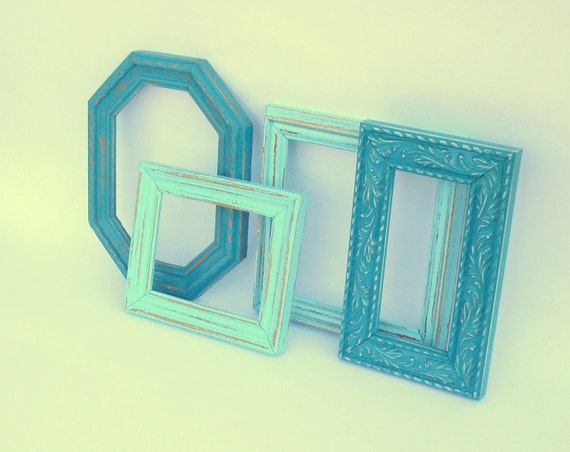 Boardwalk Frame Quartet - aqua, teal blue painted frames - upcycled shabby cottage chic - nautical beach seashore
