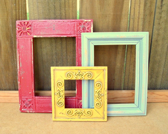 Graham Frame Trio - upcycled shabby cottage chic - 3 frames painted in marigold, brick red, gray