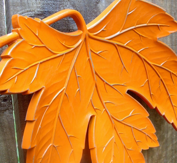 CLEARANCE - Vintage Leaf Wall Plaque - Bright Tangerine Orange - painted upcycled shabby chic - funky pop art