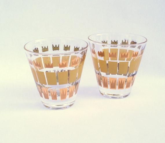 Vintage Fred Press Cocktail Glass Pair - gold tone goldtone - mod signed cordial shot glasses - Mad Men Draper Sterling