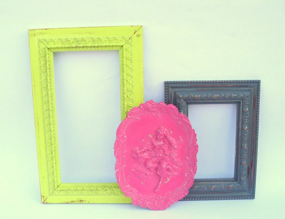 Chantilly Trio - upcycled shabby cottage chic - 5 painted frames, 1 plaque - slate grey gray, berry pink, lime green