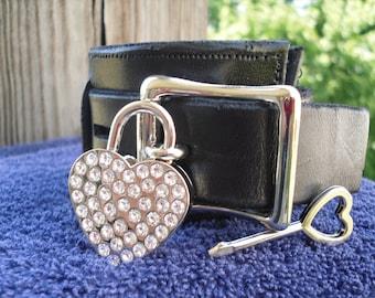 Heart shaped padlock with rhinestones - Free US Shipping