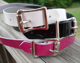 Patent Leather Submissive Collar with buckle - Free US Shipping