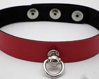 BDSM bondage slave collar red patent leather customizable with ring post - Free US Shipping