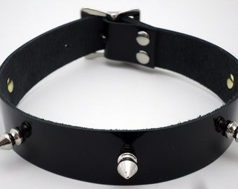 Spiked Slave Collar black patent leather - Free US Shipping