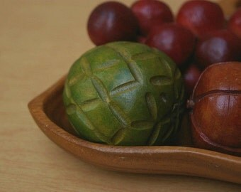 Danish Carved Wooden Fruit in Bowl
