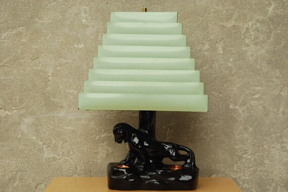 Black Ceramic Panther Lamp With Green Venetian Shade